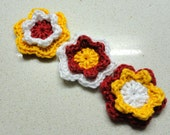 Supplies jewelry flowers Three crocheted 2D flowers applique handmade in yellow, red and white by Artefyk