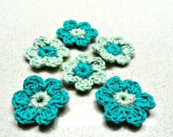 Supplies Turquoise small handmade applique CROCHETED FLOWERS  six (6) by Artefyk