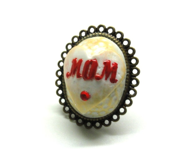 MOM Jewelry Adjustable ring mothers day ring polymer clay ring