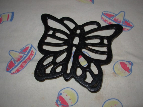 Vintage Wroght Iron Butterfly Hot Plate or Pot Holder