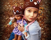 Hip Cat Child and 18-Inch Doll Kitty Hat Set