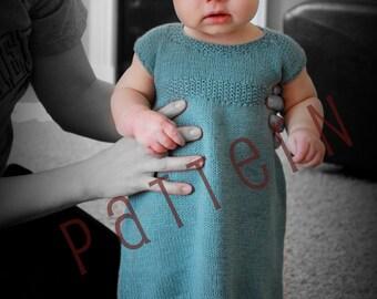 Sadie Baby Dress Pattern Sizes newborn to 18 mo. (pdf knitting pattern)