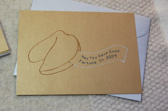 Good Fortune Holiday Cards -- Set of 8 Gocco Cards