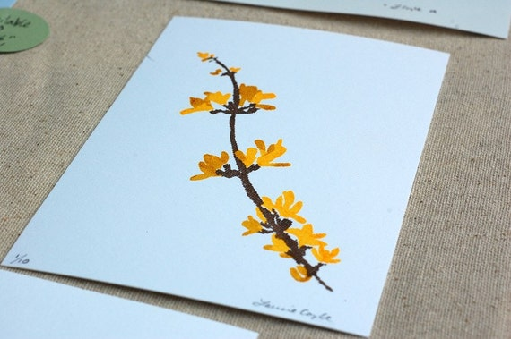 Forsythia Branch -- 4x6 Gocco Screenprint -- printed on Eco-friendly paper made with hydro-power