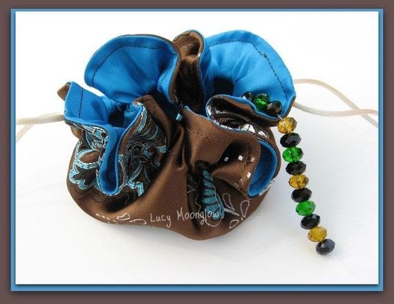 Custom Order - 2 Drawstring Jewelry Pouches - Bronze Satin Brocade