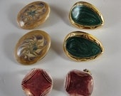 Lot of 3 pair Vintage earrings - clip-on and pierced  - swirly iridescent - ceramic and gold metal