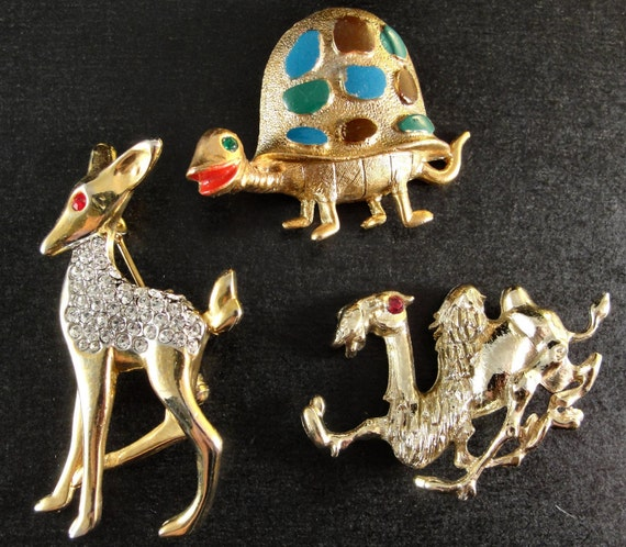 Lot of 3 Vintage Figural BROOCHES PINS Fawn with Rhinestones--crazy camel--silly turtle