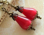 Antiqued Brass Filigree and Vintage Bead Red Teardrop Moonglow Lucite Earrings
