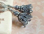 Silver Bell Earrings, Steampunk Earrings, Gothic Jewelry, Neo Victorian Jewelry