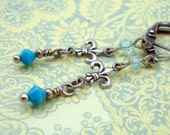 Sale Silver Fleur de Lis Charm Earrings, Vintage Style, Neo Victorian, Antique Silver, and Turquoise Blue Crystals
