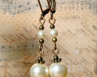 Neo Victorian Jewelry Style Handmade Earrings with Brass and Swarovski Pearls