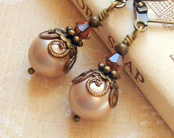 Victorian Earrings with Powder Almond Swarovski Pearls and Brass Filigree