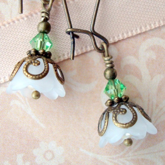 Spring Green Vintage Inspired, Neo Victorian Antiqued Brass Earrings