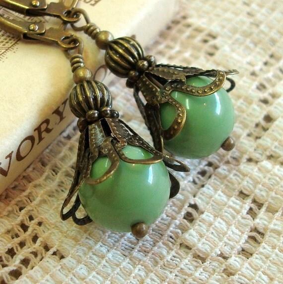 Sale Vintage Lucite Bead Earrings, Brass Filigree, Neo Victorian Jewelry, Sage Green Earrings