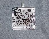 Glass Tile Pendant - Black Flower Pattern on White