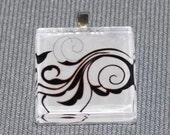 Black Swirl on White - Glass Tile Pendant