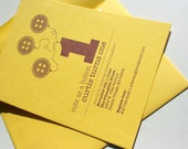 Letterpress First Birthday Invitation -- Cute As a Button. Cardstock paper with custom design and colors.