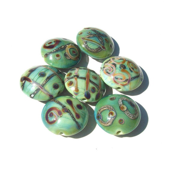SALE 25 PERCENT OFF- Green Tea Rainbows- handmade lampwork bead set of 7 lentil beads in seafoam mint green raku and silvered ivory