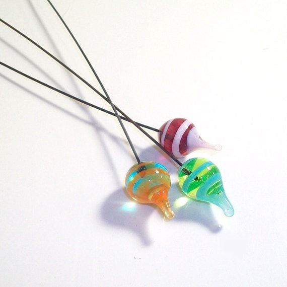 Island Punch Pods- Handmade lampwork glass headpins in magenta coral pink lime and cyan on 22 ga steel wire- set of 3