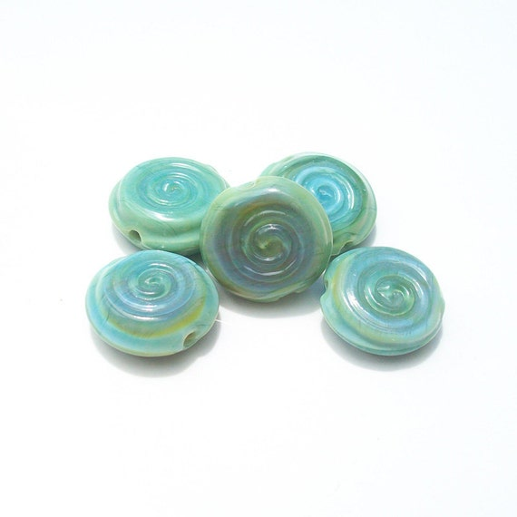 Spiral Sea Coin- mini spiral stamped coin lampwork beads- set of 5 in minty blue and green
