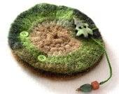 Fertile Earth Felted Wool Needle Book or Earring Organizer