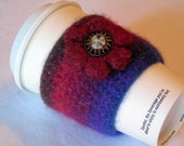 Coffee cup cozy or candle wrap, java jacket, coffee cup sleeve, felted, wool, crochet, burgundy red, blue