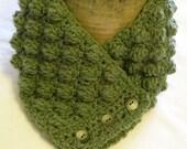 Crochet neckwarmer, sage green, flexible fit