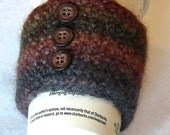 Coffee cup cozy or candle wrap, java jacket, coffee cup sleeve, felted, wool, crochet, cinnamon, chocolate brown