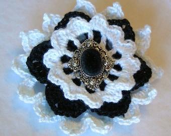 Victoriana Flower Brooch, Crochet Thread Pin, FB163-001