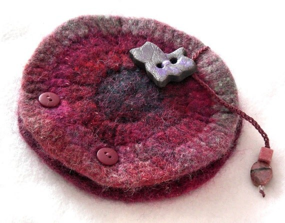 Lavender Cat Felted Wool Needle Book with cat button or Earring Organizer