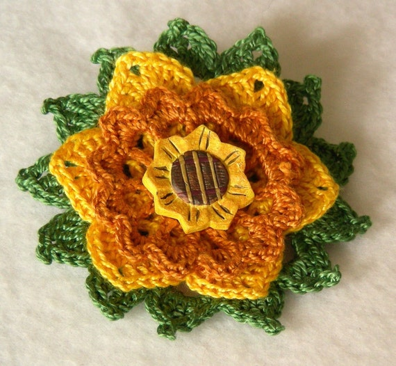 Golden Meadow Flower Brooch, Crochet Thread Pin, FB155-01