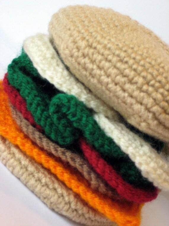 Free Crochet Hot Dog Pattern : Crochet Hamburger Pattern PDF