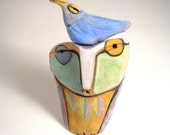 Owl art, sculpture, art, Owl and the Blue Beauty Bird of Happiness