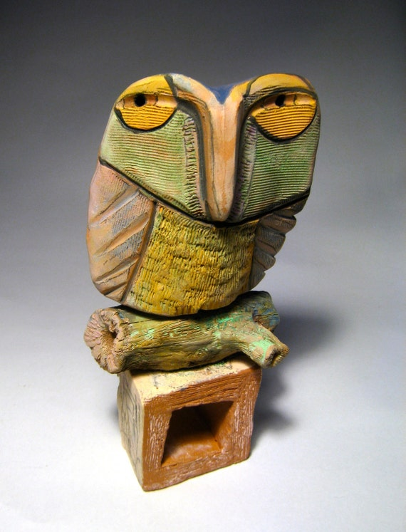 Owl Sculpture, Whimsical Ceramic, Art...Owl Person at Home in the Dream of Love