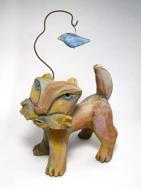 Cat Sculpture, Whimsical Cat Art...Yellow Cat and the Blue Bird Dreaming Love