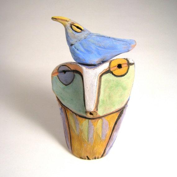 Owl art, sculpture, art, Owl and the Blue Beauty Bird of Happiness