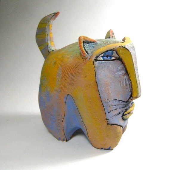 Cat art, sculpture, Ring Tail Fat Cat in the Rainbow