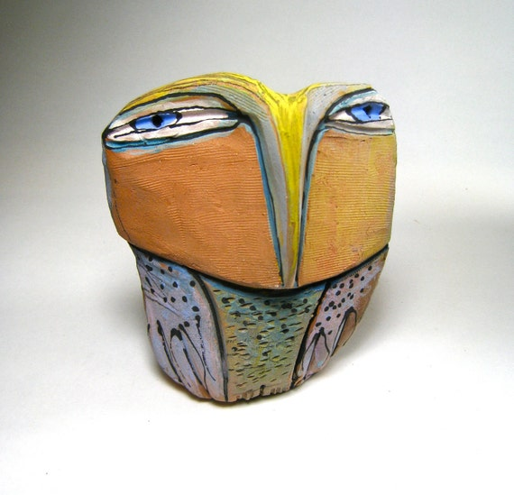 Owl, clay sculpture,  Owls, Owl Person Standing Centered in the Beauty