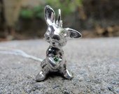 Sterling Silver Bunny with Emerald