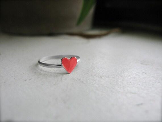 tiny enamel heart ring