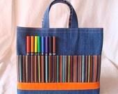 Crayon Bag Crayon Tote READY to SHIP ARTOTE in Woodsy Stripe