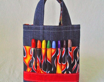 Coloring Tote Crayon Bag Ring Bearer Gift Crayon Tote READY To SHIP ARTOTE Mini in HotShot