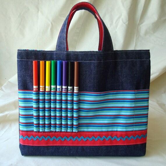 ARTOTE Children's Art Supply Tote in Big Top Blue