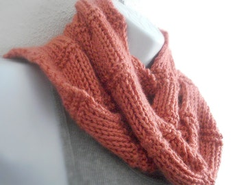 Knitted Scarf Womens Scarf Ladies knit Scarf Hand knit Handmade Scarf Persimmon Color Teen Tween Girls Handknit Crafted in Oregon USA