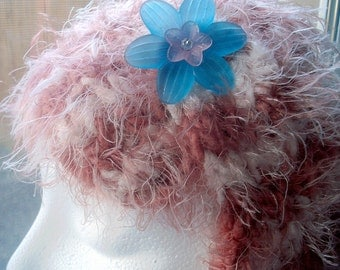 Knitted Womens Headband Beautiful Soft Ladies Pink Striped with Handmade Acrylic Flower with a Small Crystal Center - Hand Crafted in Oregon