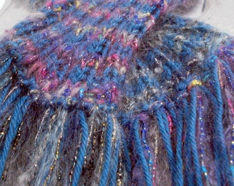Moonlight Mohair 7ft Long Womens Scarf Functional Art One of a Kind 7 foot Scarf Four Types of with Tassels Genuine Art Scarf OOAK Hand Knit