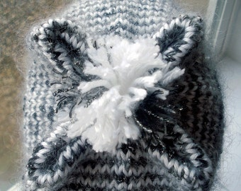 Moonlight Mohair Striped Beanie Art OOAK Hat Black White Grey Monochrome Rebel X - Made in Oregon