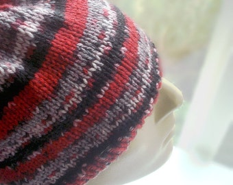 Mens Beanie Womens Hat Unisex Skull Cap Knitted Hand Knit Soft Acrylic Red White Black Stripes Size fits Most Teen Tween Adult Made in USA