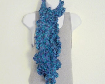 Winter Scarf Knitted Ladies Scarf Womens Knit Scarf Ruffled Edge Hand Knit Acrylic Yarn Blue Purple Ocean Colors Handmade in Oregon USA