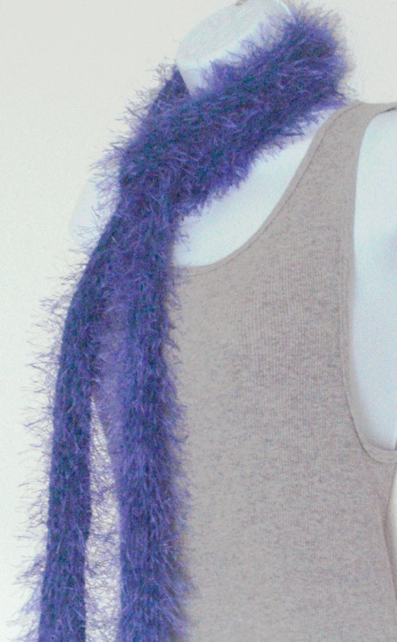 Womens Skinny Scarf Knitted Scarf Ladies Scarf Long Scarf Hand Knit Teen Tween Simply Soft Purple Ocean Blue Core Just Over 6ft Long Skinny